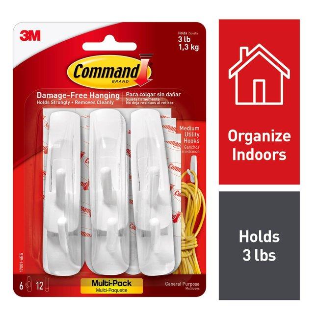 3M Command Medium Utility Hook Value Pack 6 hooks, 12 medium indoor strips:Gloves,