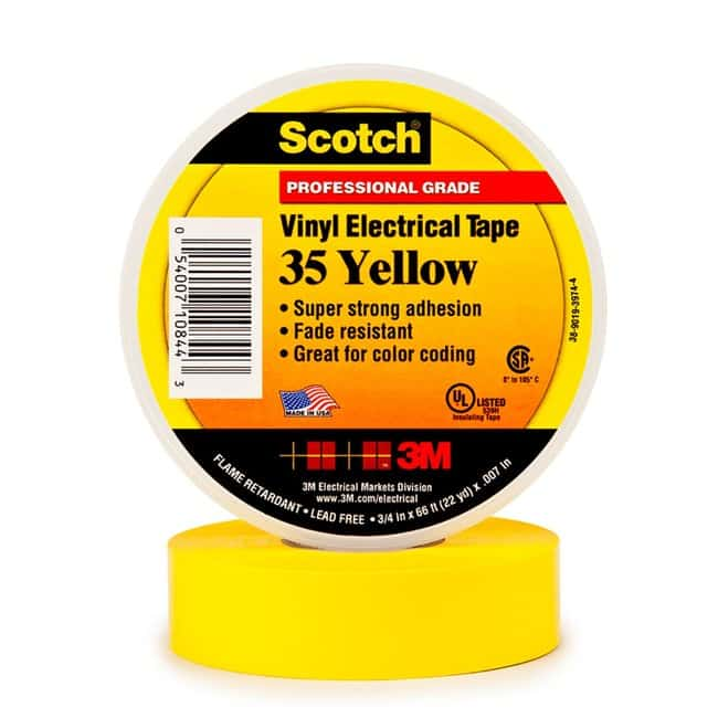 3M Scotch Vinyl Color Coding Electrical Tape 35 1/2 in x 20 ft, Yellow:Gloves,