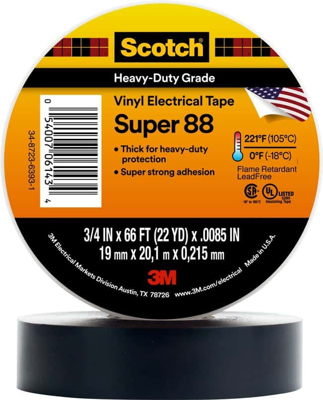 3M Scotch Vinyl Electrical Tape Super 88 3/4 in x 36 yd, 48 rolls/Case:Gloves,