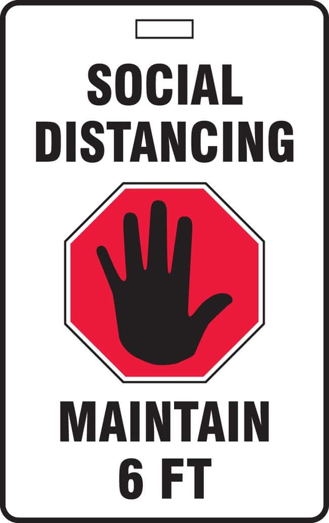AccuformID Badge - SOCIAL DISTANCING MAINTAIN 6 FT (Hand in Stop Sign Symbol):Facility