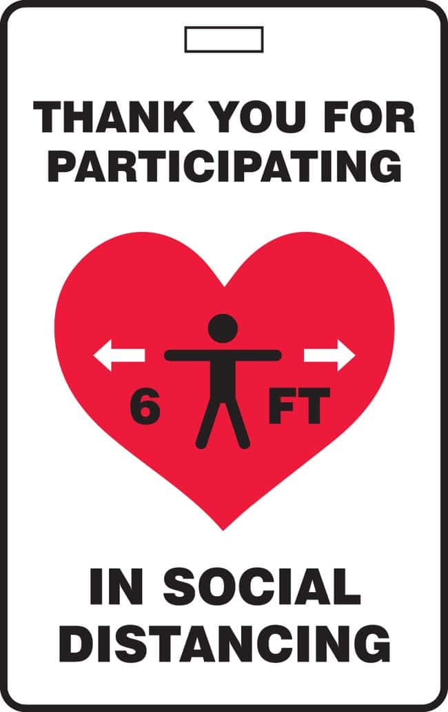 AccuformID Badge - THANK YOU FOR PARTICIPATING IN SOCIAL DISTANCING (Human