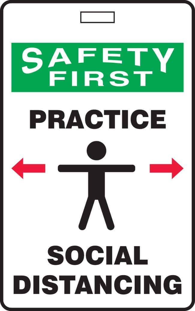 AccuformID Badge - SAFETY FIRST PRACTICE SOCIAL DISTANCING (Human And Arrows
