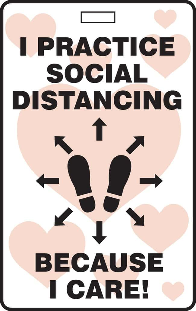 Accuform ID Badge - I PRACTICE SOCIAL DISTANCING BECAUSE I CARE! (Footprint