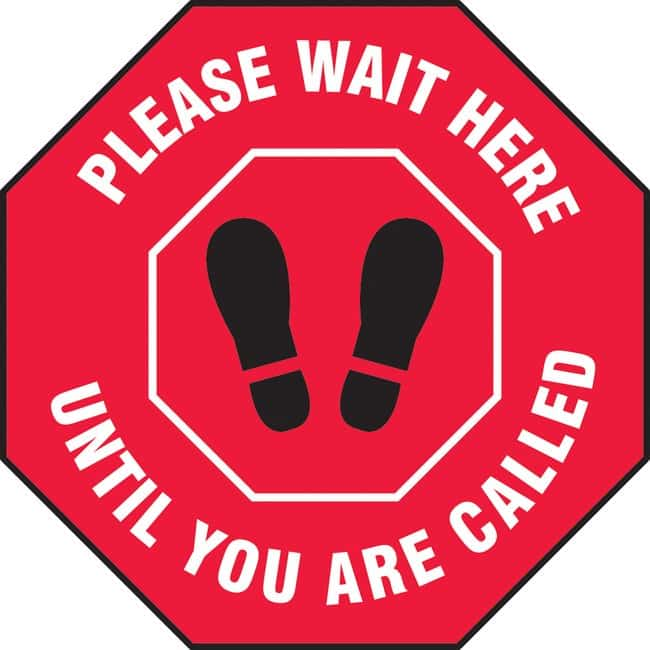 AccuformFloor Sign - PLEASE WAIT HERE UNTIL YOU ARE CALLED (Footprints