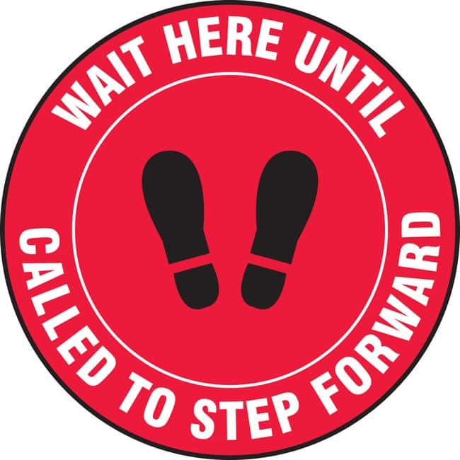 AccuformFloor Sign - WAIT HERE UNTIL CALLED TO STEP FORWARD (Footprints