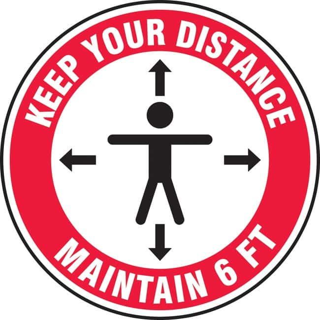 AccuformFloor Sign - KEEP YOUR DISTANCE MAINTAIN 6 FT (Human And Arrows