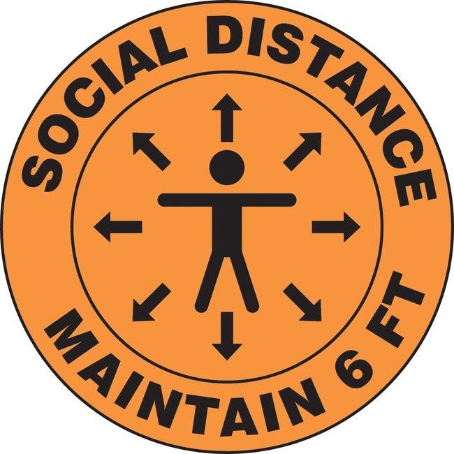 AccuformFloor Sign - SOCIAL DISTANCE MAINTAIN 6 FT (Human And Arrows Symbol):Facility