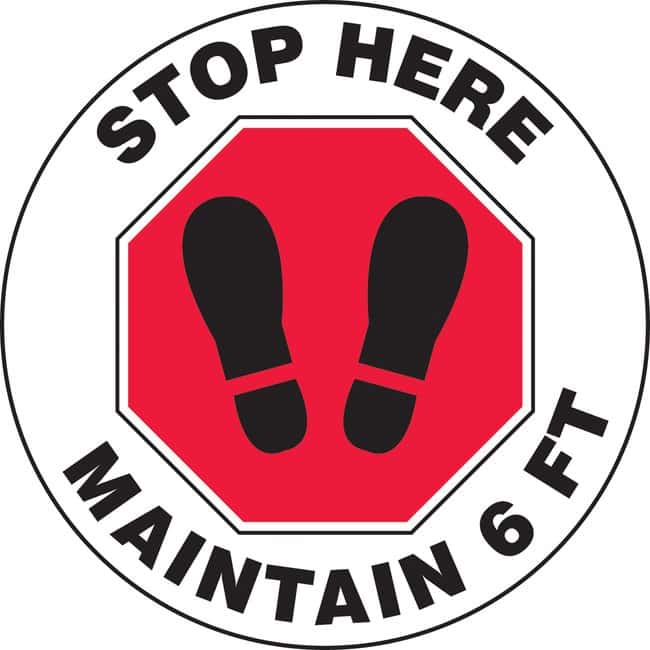 AccuformFloor Sign - STOP HERE MAINTAIN 6 FT (Footprints In Stop Sign Symbol):Facility