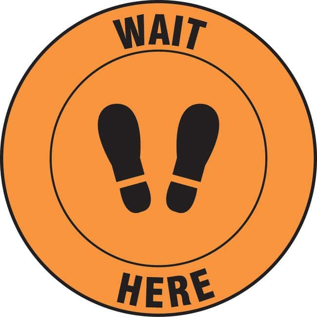 AccuformFloor Sign - WAIT HERE (Footprints Symbol):Facility Safety and
