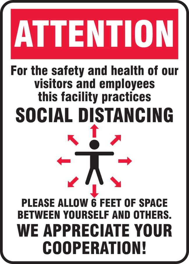 AccuformSafety Sign - ATTENTION FOR THE SAFETY AND HEALTH OF OUR VISITORS