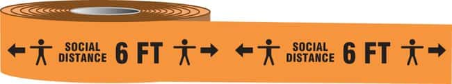 Accuform Barricade Tape - SOCIAL DISTANCE 6 FT (Human And Arrows Symbol):Racks,