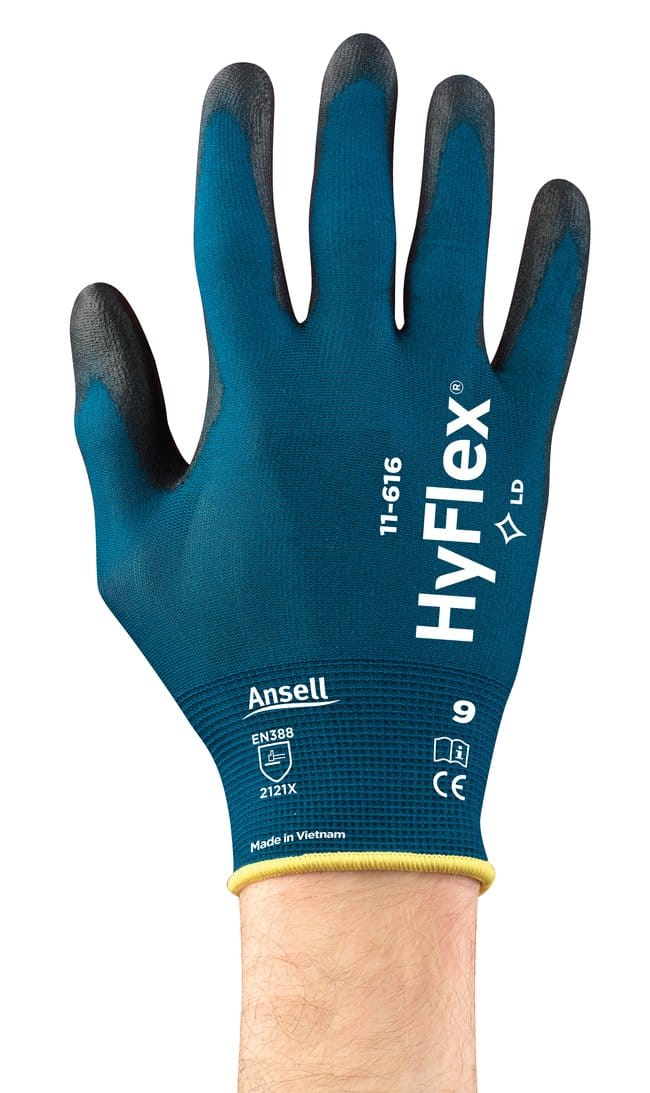 Ansell Edmont™ HyFlex™ 11-616 Series Black and Green/Blue Polyurethane Light Weight Gloves Size: 11 Products