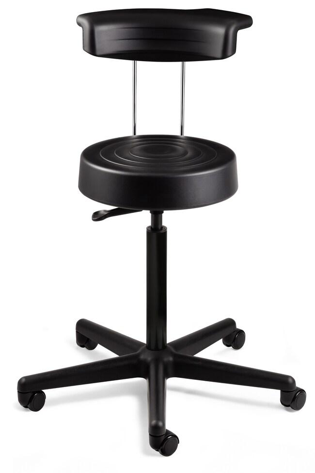 BevcoErgoLux Soft Polyurethane Stool with Backrest, Hard Floor Casters:Furniture:Seating