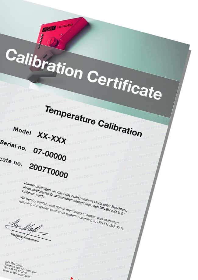 BINDER™Temperature Calibration Certificate with 9 Measurement Points 9 measurement points; For Use With: BD 56, BD 115, BD 260 models Incubator Accessories