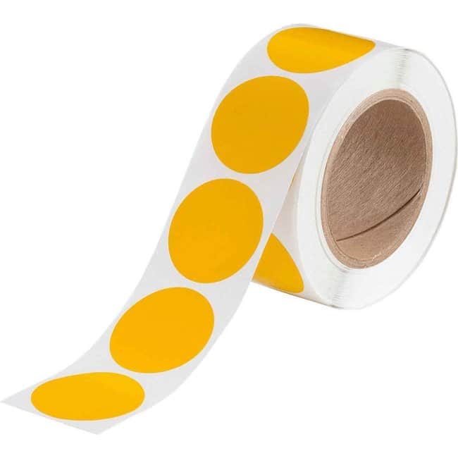 Brady Roll-Mounted Aisle Marking Tape Dots - Adhesive Vinyl, Solid Color,