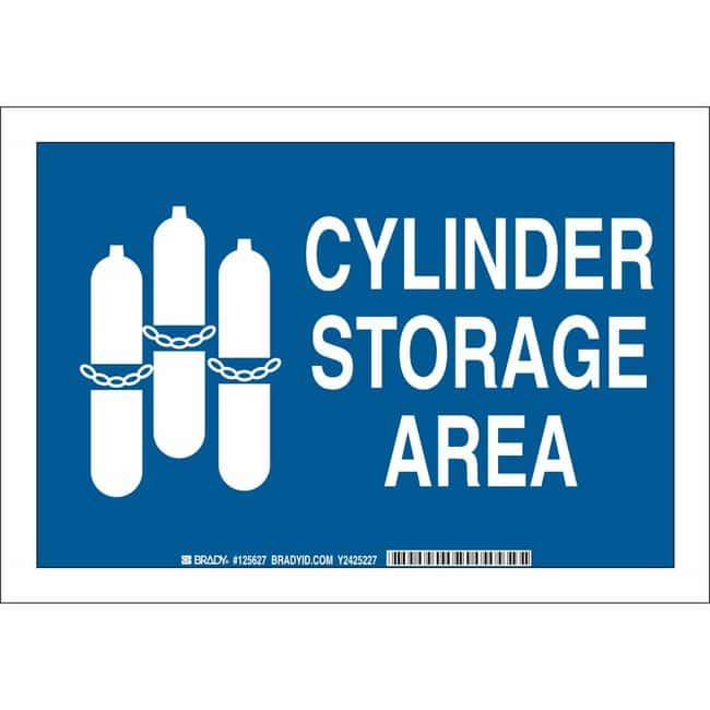 Brady Polystyrene Sign: CYLINDER STORAGE AREA 7 x 10 in.:Gloves, Glasses