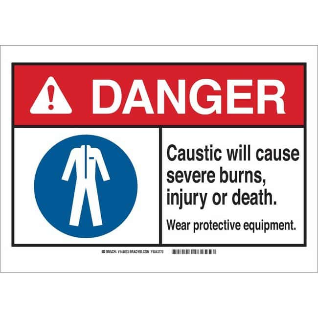 Brady Aluminum Sign: CAUSTIC. WILL CAUSE SEVERE BURNS, INJURY OR DEATH.