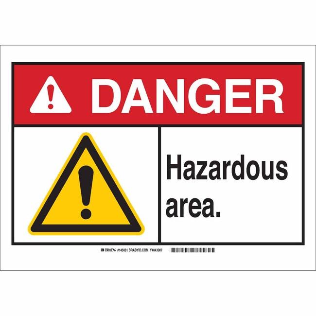 Brady Aluminum Sign: DANGER - HAZARDOUS AREA 10 x 14 in., Caution Picto:Gloves,