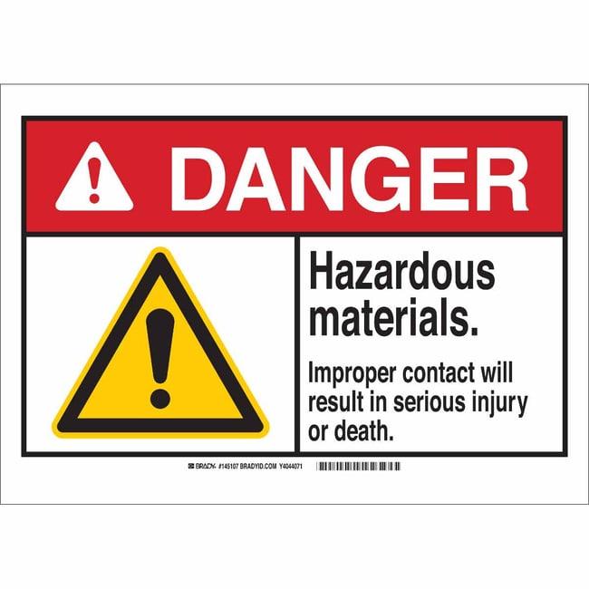Brady Polystyrene Sign: HAZARDOUS MATERIALS. IMPROPER CONTACT WILL RESULT
