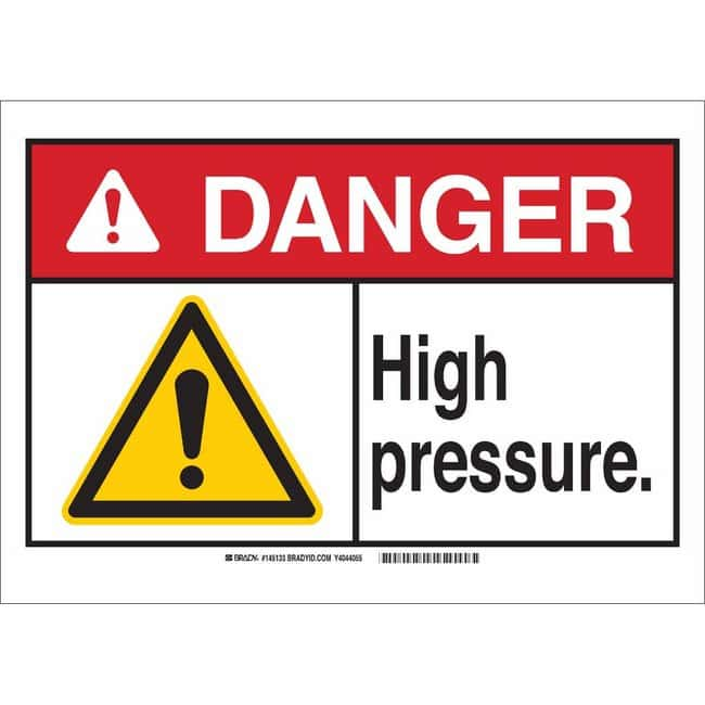 Brady Aluminum Sign: HIGH PRESSURE. 7 x 10 in.:Gloves, Glasses and Safety