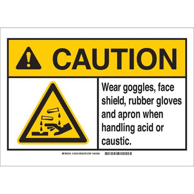 Brady Polystyrene Sign: WEAR GOGGLES, FACE SHIELD, RUBBER GLOVES AND APRON