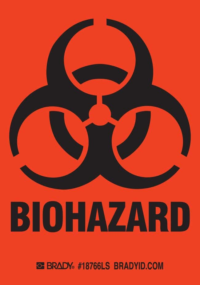Brady BIOHAZARD Label:Gloves, Glasses and Safety:Facility Maintenance and