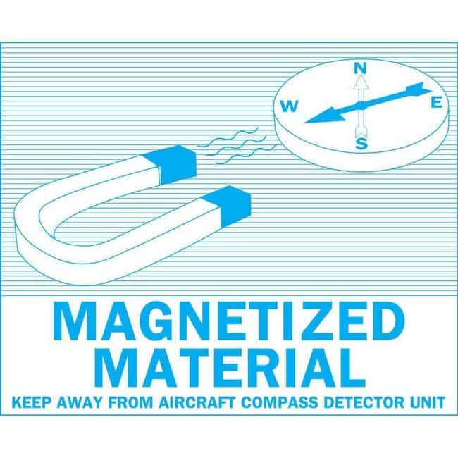 Brady Hazardous Material Shipping Labels: Blue on White, MAGNETIZED MATERIAL