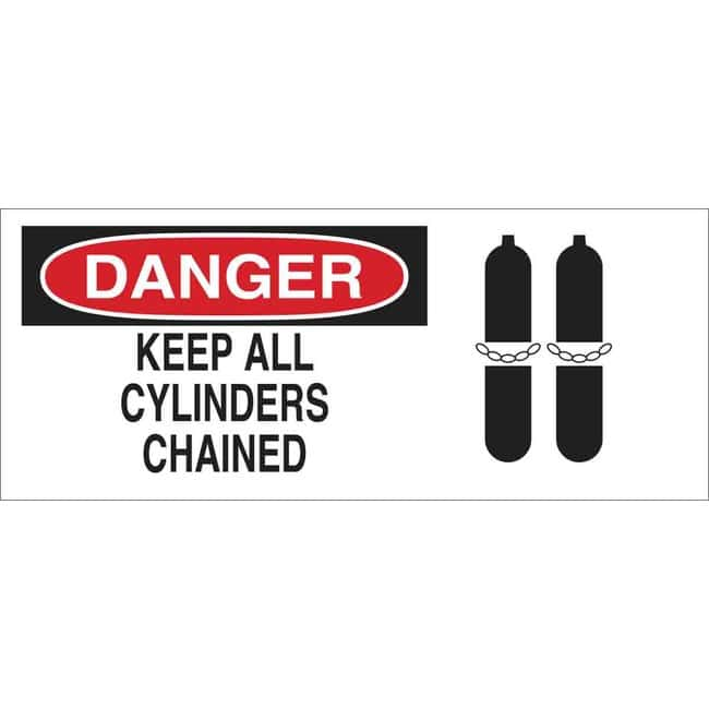 Brady Aluminum Sign: DANGER - KEEP ALL CYLINDERS CHAINED Aluminum Sign: