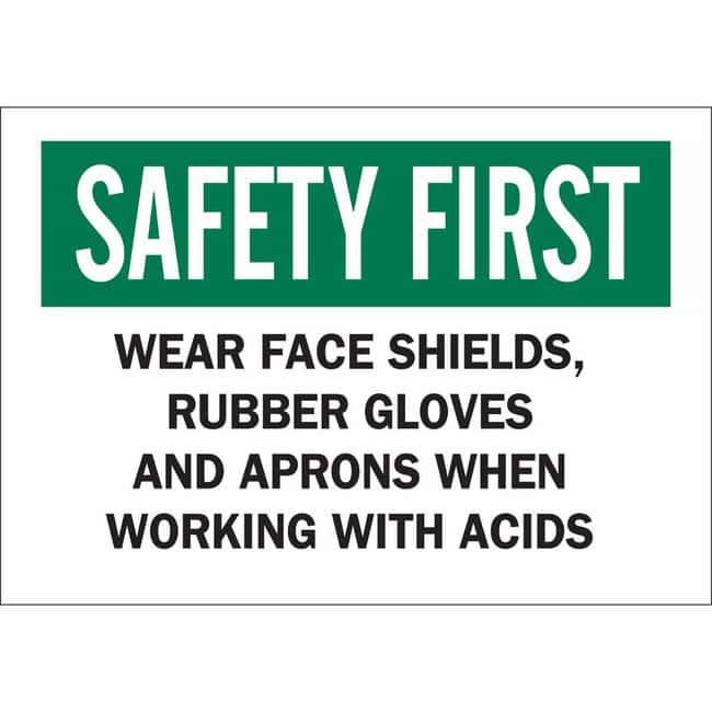 Brady Polyester Sign: WEAR FACE SHIELDS, RUBBER GLOVES AND APRONS WHEN