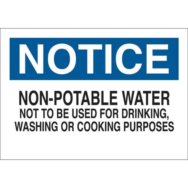 Brady Chemical, Biohazard & Hazardous Material Sign - NOTICE NON-POTABLE
