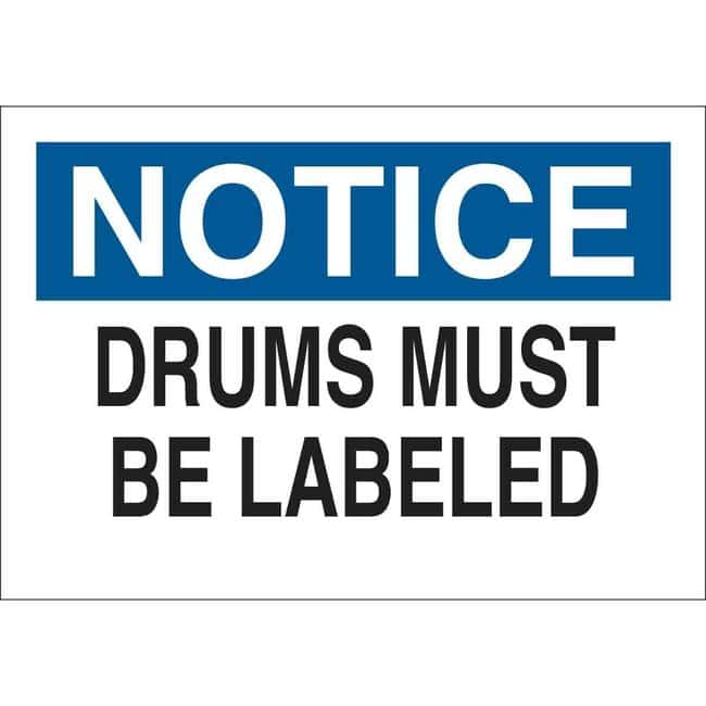 Brady Aluminum Sign: DRUMS MUST BE LABELED 7 x 10 in.:Gloves, Glasses and