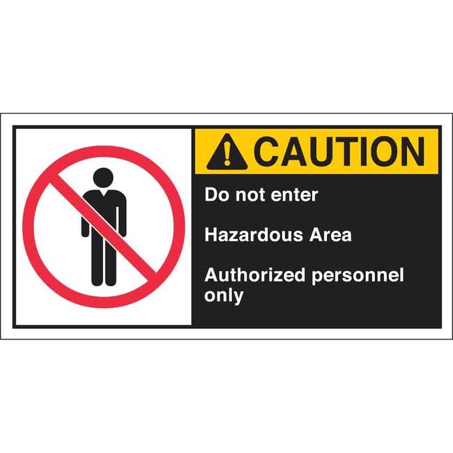 Brady Cema Safety Label: CAUTION: DO NOT ENTER HAZARDOUS AREA AUTHORIZED