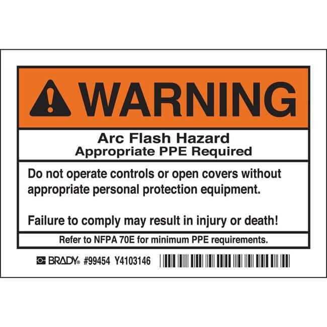 Brady Arc Flash Labels - Self-Sticking Polyester - Warning Header, ARC