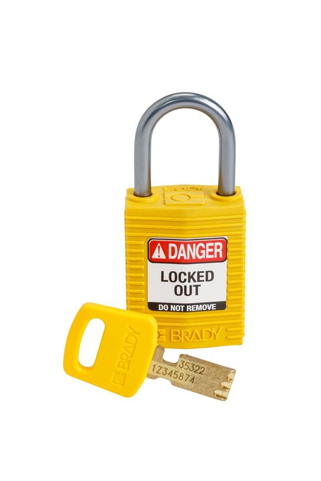BradySafeKey Compact Padlocks - Nylon with 25 mm Aluminum Shackle, Keyed