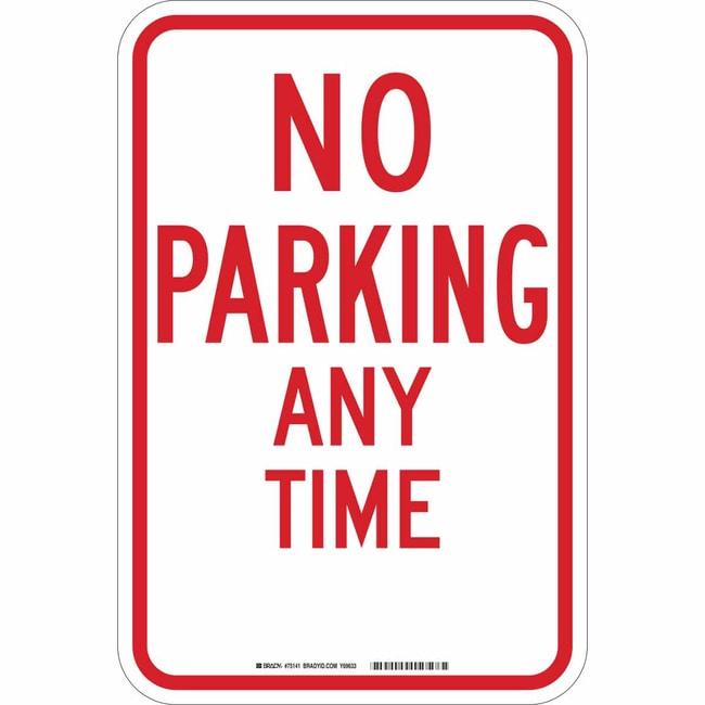 Brady No Parking Sign - Reflective Aluminum No Parking Sign - Reflective