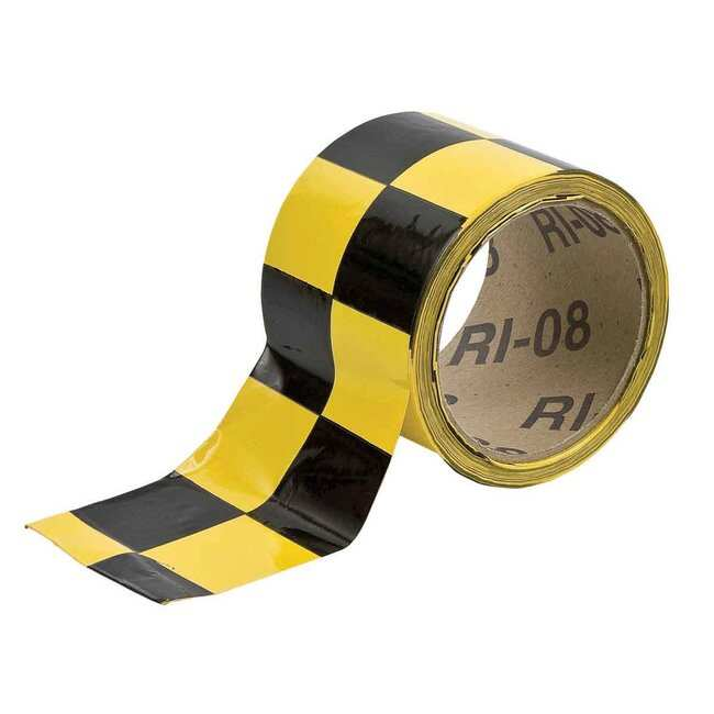 Brady Marking Tape Roll: High Performance Laminated Vinyl, Checkered, Black