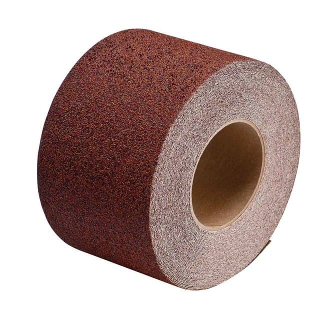 Brady Anti-Skid Tape Roll - Grit-Coated Polyester, Solid Color, Red 4 in