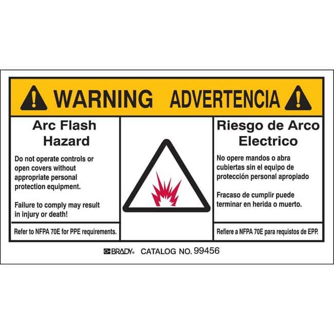 Brady Bilingual Arc Flash Labels - Self-Sticking Polyester - 3.5 in H x