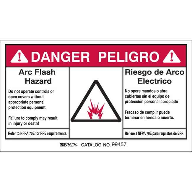 Brady Bilingual Arc Flash Labels - Self-Sticking Polyester - 3.5 in H x