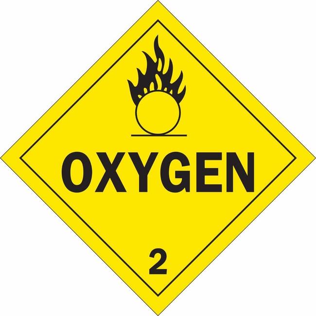 Brady Hazardous Material Shipping Labels - Adhesive Vinyl OXYGEN 2:Gloves,