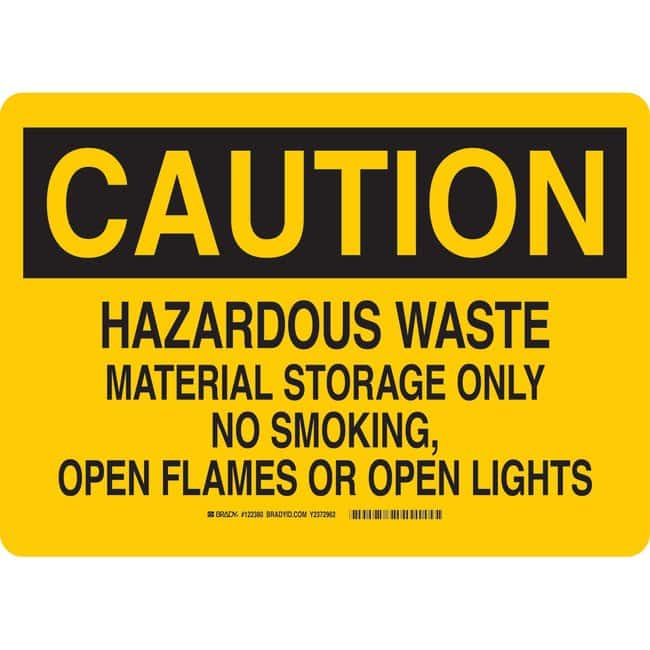Brady Fiberglass Caution Sign: HAZARDOUS WASTE MATERIAL STORAGE ONLY NO