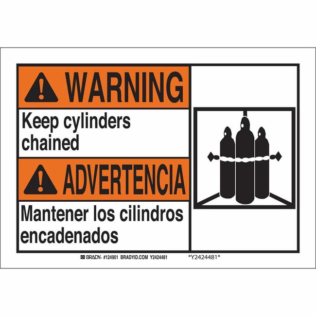 Brady Polyester Sign: WARNING - KEEP CYLINDERS CHAINED/MANTENER LOS CILINDROS
