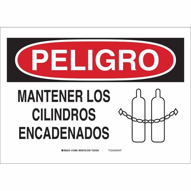 Brady Polyester Sign: MANTENER LOS CILINDROS ENCADENADOS Polyester Sign: