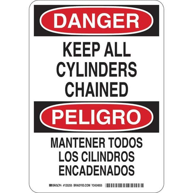 Brady Polystyrene Sign: DANGER - KEEP ALL CYLINDERS CHAINED/MANTENER TODOS