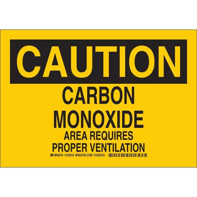 Brady Aluminum Sign: CAUTION - CARBON MONOXIDE AREA REQUIRES PROPER VENTILATION