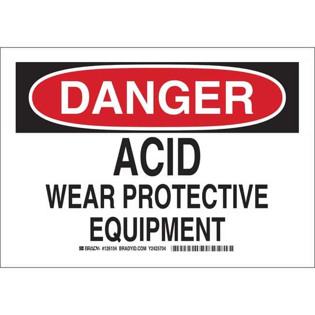 Brady Polyester Sign: DANGER - ACID. WEAR PROTECTIVE EQUIPMENT. 10 x 14
