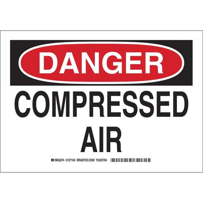 Brady Polystyrene Sign: DANGER - COMPRESSED AIR 10 x 14 in.:Gloves, Glasses