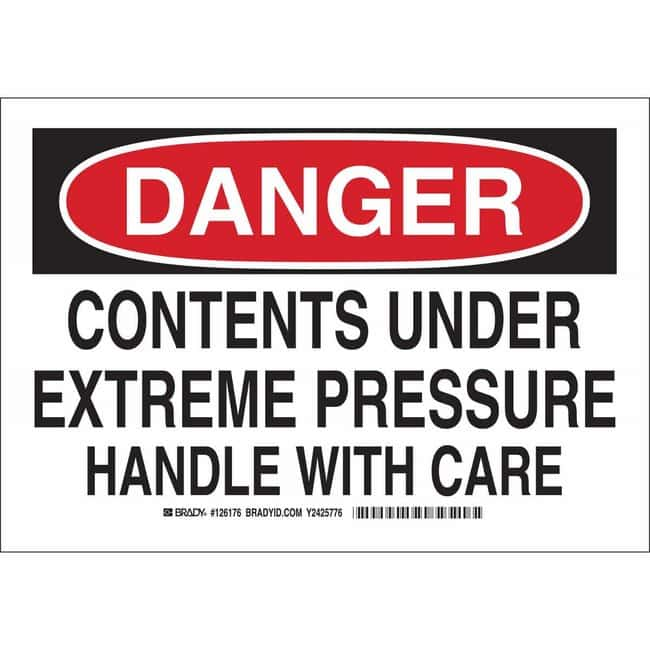 Brady Aluminum Sign: DANGER - CONTENTS UNDER EXTREME PRESSURE. HANDLE WITH