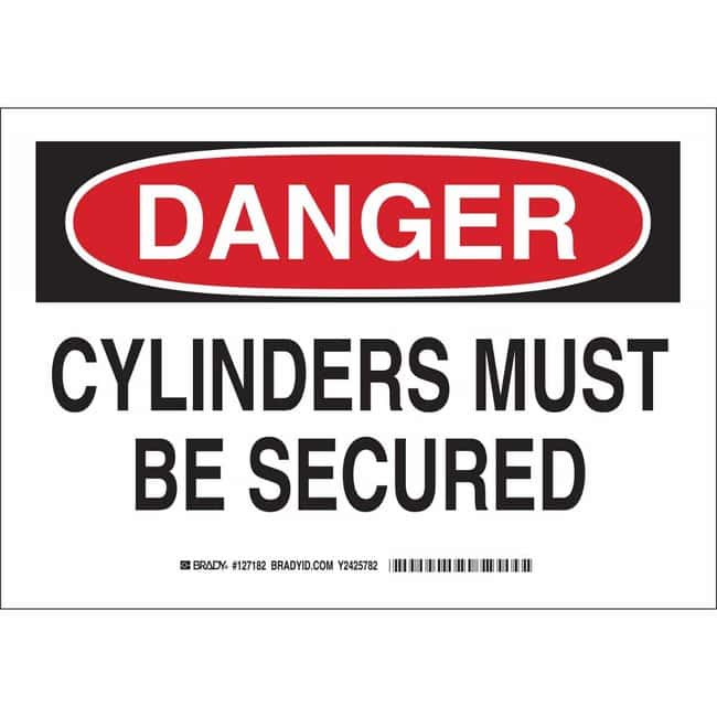 Brady Polyester Sign: DANGER - CYLINDERS MUST BE SECURED 7 x 10 in.:Gloves,