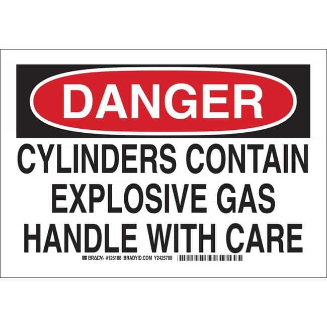 Brady Polyester Sign: DANGER - CYLINDERS CONTAIN EXPLOSIVE GAS. HANDLE